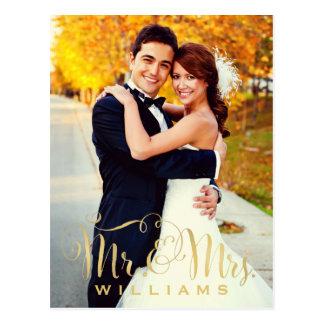 Sr. y señora Script del oro de las tarjetas de Postales
