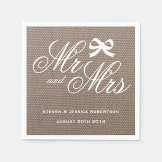 Sr. y señora servilletas rústicas del boda del servilletas de papel