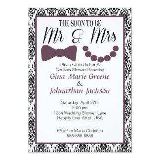 Sr. y señora Shower Invitation (berenjena) del Invitación 12,7 X 17,8 Cm