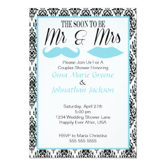 Sr. y señora Shower Invitation del damasco (1) Invitación 12,7 X 17,8 Cm
