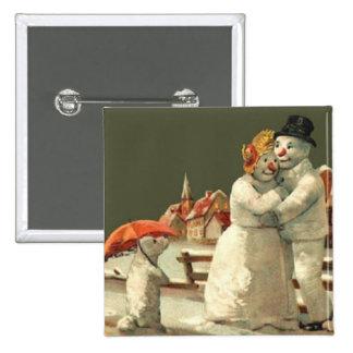 Sr. y señora Snowman Button Pin Cuadrada 5 Cm