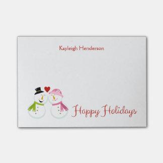 Sr. y señora Snowman en días de fiesta del navidad Post-it Nota