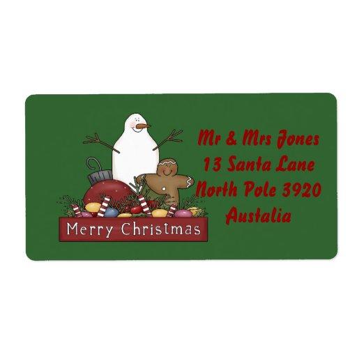 Sr. y señora Snowman Etiquetas De Envío