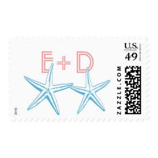 Sr. y señora Starfish Custom Wedding Stamps Franqueo