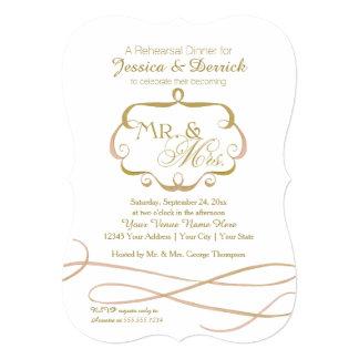 Sr. y señora Typography Flourish Scroll Watercolor Invitación
