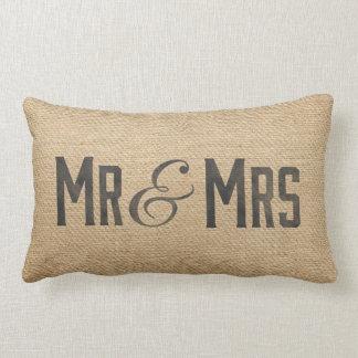 Sr. y señora Wedding Date del vintage de la Cojín