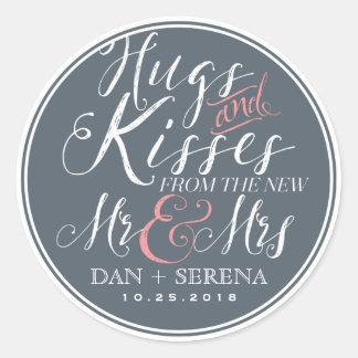 Sr. y señora Wedding Favor Sticker de la fuente de Pegatina Redonda