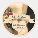 Sr. y señora Wedding Stickers Etiqueta Redonda