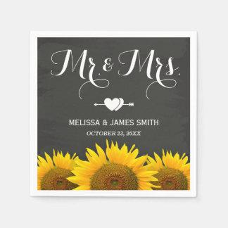 Sr. y señora Wedding Sunflowers Chalkboard Elegant Servilleta De Papel