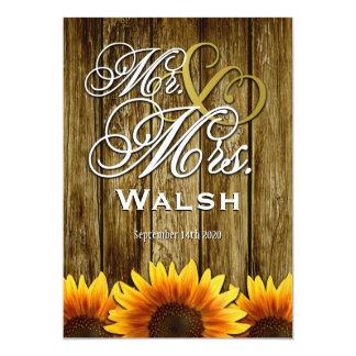 Sr. y señora Western Sunflower Wedding Invitations Anuncios