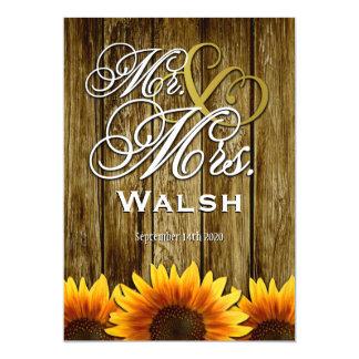 """Sr. y señora Western Sunflower Wedding Invitations Invitación 5"""" X 7"""""""