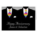 Sr. y Sr., aniversario de boda de dos novios Tarjeta De Felicitación