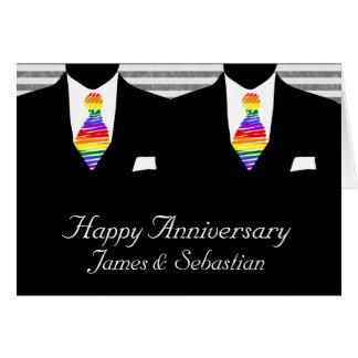 Sr. y Sr., aniversario de boda de dos novios Tarjetas