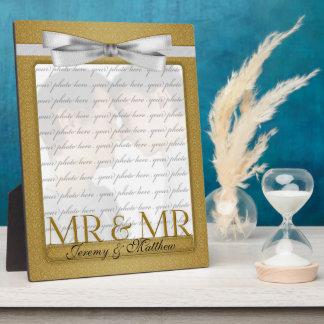 Sr. y Sr. Gay Wedding Photo Frame en oro Placa De Plastico