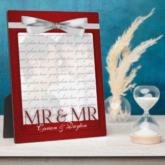 Sr. y Sr. Gay Wedding Photo Frame en rojo Placa De Plastico