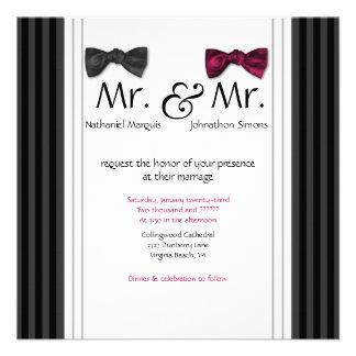 Sr. y Sr. pajaritas y boda rayado Pin invitan Invitacion Personalizada