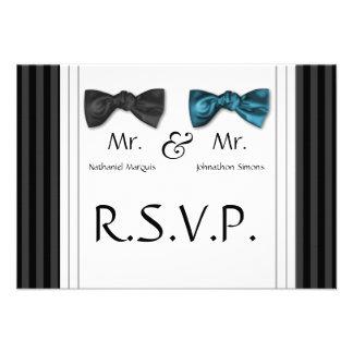 Sr. y Sr. pajaritas y tarjeta rayada del Pin RSVP Comunicado Personal