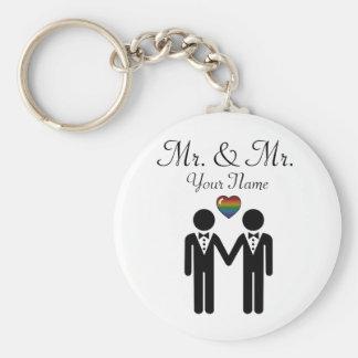 Sr. y Sr. Rainbow Grooms Llavero Personalizado