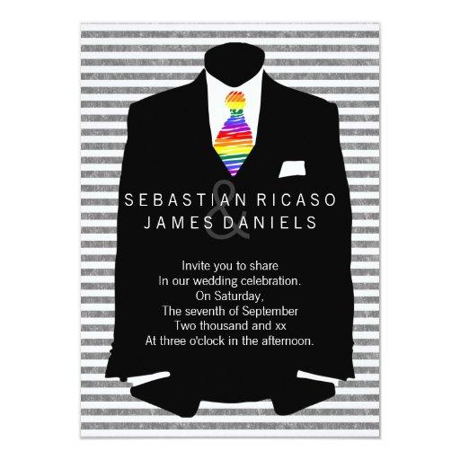 """Sr. y Sr. Suit y boda gay del lazo del arco iris Invitación 4.5"""" X 6.25"""""""