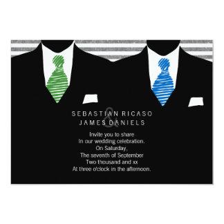 """Sr. y Sr. Suit y boda gay del lazo Invitación 5"""" X 7"""""""
