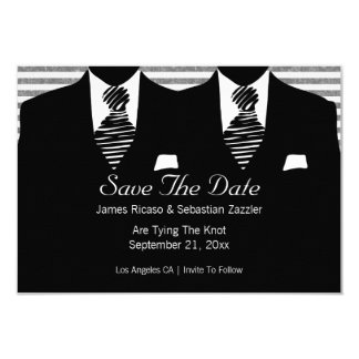 """Sr. y Sr. Suit y el gay del lazo ahorran el boda Invitación 3.5"""" X 5"""""""