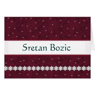 Sretan Bozic Snowflakes MAROON Background Greeting Cards