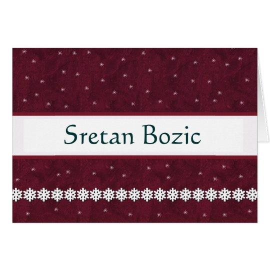 Sretan Bozic Snowflakes MAROON Background Card