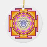 Sri Chakra Goddess Shri Lalitha Tripura Sundari Double-Sided Ceramic Round Christmas Ornament