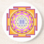 """Sri Chakra Goddess Shri Lalitha Tripura Sundari Sandstone Coaster<br><div class=""""desc"""">The Sri Chakra or Shri Yantra is a yantra formed by nine interlocking triangles that surround and radiate out from the central (bindu) point, the junction point between the physical universe and its unmanifest source. It represents the goddess in her form of Shri Lalitha Or Tripura Sundari, &quot;the beauty of...</div>"""