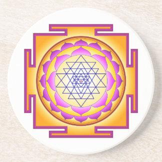 Sri Chakra Goddess Shri Lalitha Tripura Sundari Sandstone Coaster
