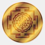 Sri de oro Yantra Etiqueta Redonda