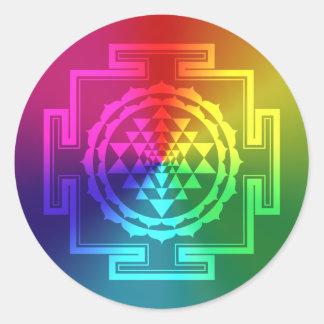 Sri espiritual Yantra - arco iris Pegatina Redonda