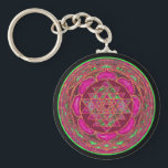 "Sri Lakshmi Yantra Mandala Keychain<br><div class=""desc"">This mandala with Lakshmi yantra inside is from an ancient carving from India ,  with amazing beautiful colors added.  Wealth,  health and happiness follows you whenever you wear this powerful mandala!</div>"