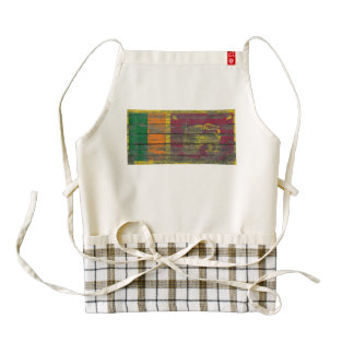 Sri Lanka Flag on Rough Wood Boards Effect Zazzle HEART Apron