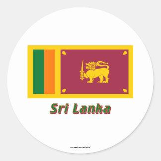 Sri Lanka Flag with Name Round Stickers