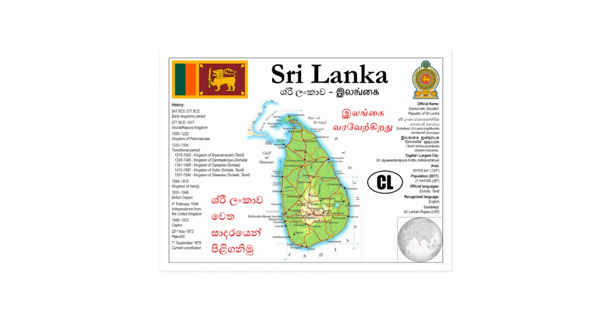Sri Lanka map Postcard | Zazzle com