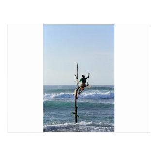 Sri Lanka stick fishermen fishing Marissa Bay Postcard