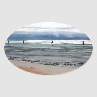 Sri Lanka stick fishermen Indian ocean fishing Oval Sticker