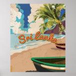 Sri Lanka Vintage Vacation Travel Poster