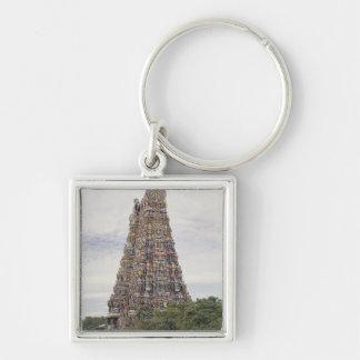 Sri Meenakshi Amman Temple, Madurai, Tamil Nadu, Silver-Colored Square Keychain