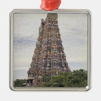 Sri Meenakshi Amman Temple, Madurai, Tamil Nadu, Square Metal Christmas Ornament