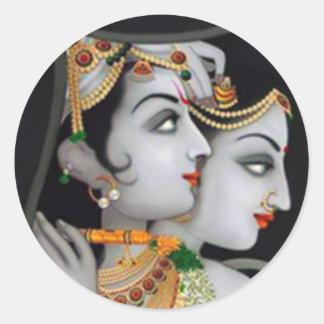 Sri Radha-Krishna en gris Etiqueta Redonda