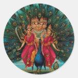 Sri Shanmukaha Subramania Swami by Raja Ravi Varma Classic Round Sticker