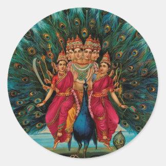 Sri Shanmukaha Subramania Swami by Raja Ravi Varma Round Stickers
