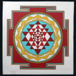 "Sri Yantra1 Napkin<br><div class=""desc"">Sri Yantra is a diagram formed by nine interlocking triangles that surround and radiate out from the central (bindu) point and is viewed as sacred,  normally allowing the observer to settle into a higher or heightened state of awareness.</div>"