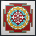 """Sri Yantra1 Napkin<br><div class=""""desc"""">Sri Yantra is a diagram formed by nine interlocking triangles that surround and radiate out from the central (bindu) point and is viewed as sacred,  normally allowing the observer to settle into a higher or heightened state of awareness.</div>"""
