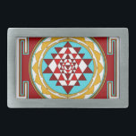 """Sri Yantra1 Rectangular Belt Buckle<br><div class=""""desc"""">Sri Yantra is a diagram formed by nine interlocking triangles that surround and radiate out from the central (bindu) point and is viewed as sacred,  normally allowing the observer to settle into a higher or heightened state of awareness.</div>"""