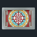 "Sri Yantra1 Rectangular Belt Buckle<br><div class=""desc"">Sri Yantra is a diagram formed by nine interlocking triangles that surround and radiate out from the central (bindu) point and is viewed as sacred,  normally allowing the observer to settle into a higher or heightened state of awareness.</div>"