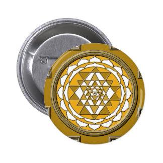 Sri Yantra Bronze 2 Inch Round Button