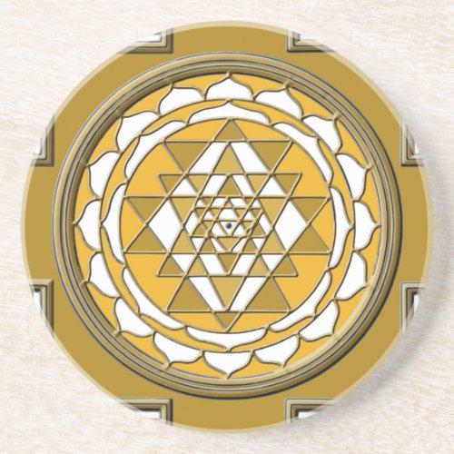 Sri Yantra Bronze Sandstone Coaster